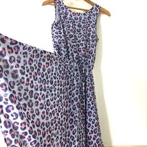 H&M Sleeveless Blue Leopard Print Dress